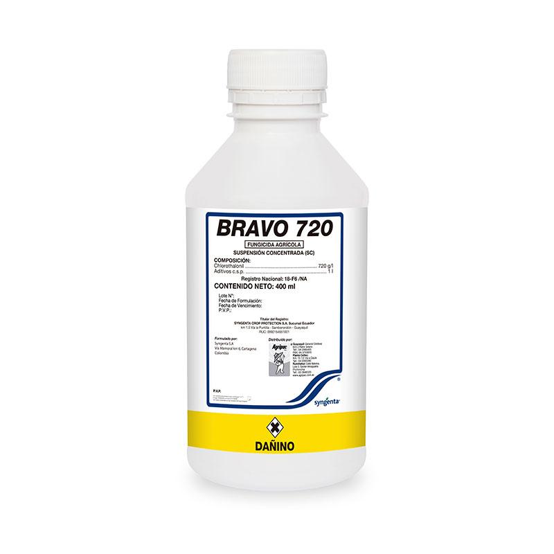 fungicida bravo 720 SC (Chlorothalonil 720 g/Lt) usado como acción preventiva en los cultivos.